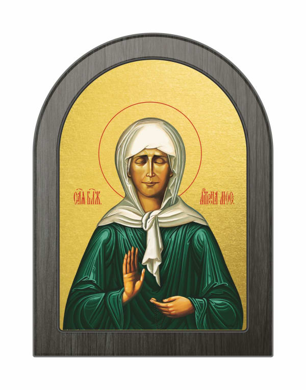 Икона Святая Блаженная Матрона Московская, арочная доска