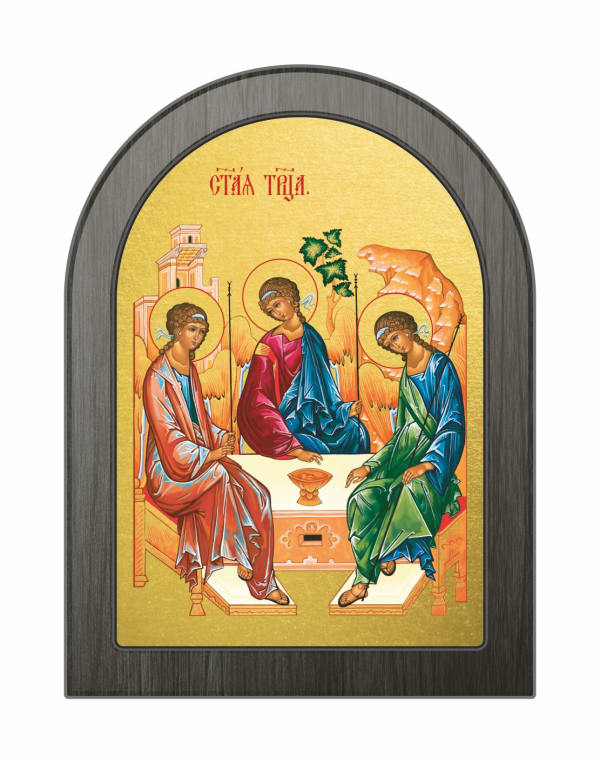 Икона Святая Троица, арочная доска
