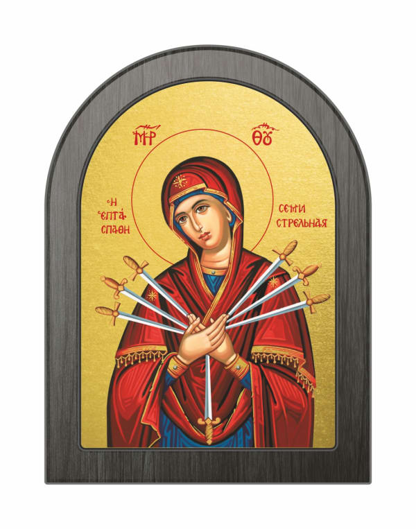 Икона Божья Матерь Семистрельная, арочная доска