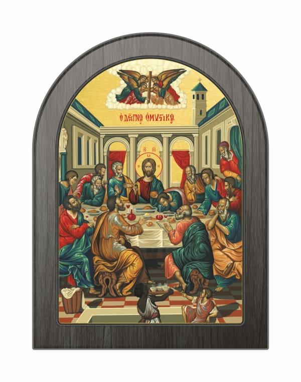Икона Тайная Вечеря, арочная доска