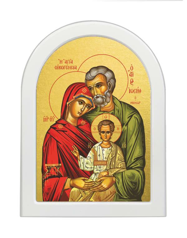 Икона Святое Семейство, арочная доска