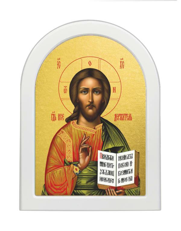 Икона Спасителя, арочная доска