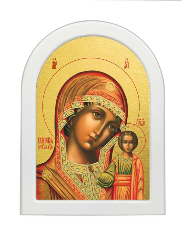 Икона Казанская Божья Матерь, арочная доска