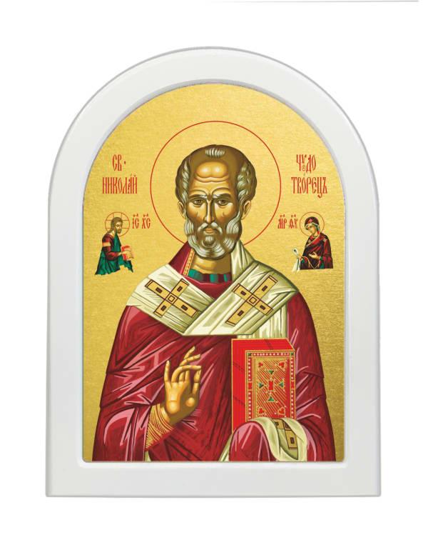 Икона Святитель Николай Чудотворец, арочная доска