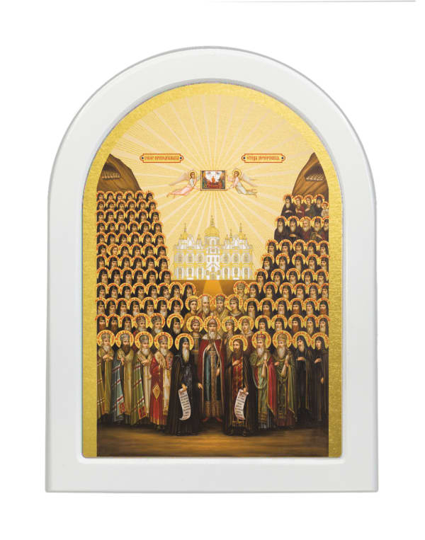Икона Собор Киево-Печерских Святых, арочная доска