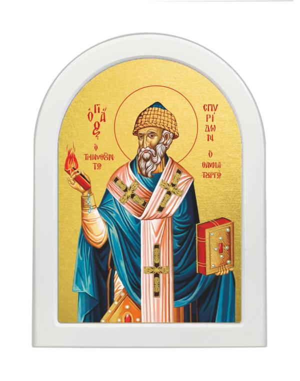 Икона Святитель Спиридон Тримифунский, арочная доска