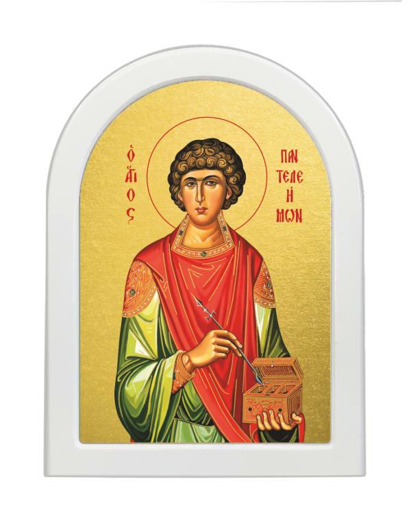 Икона Великомученик и Целитель Пантелеимон, арочная доска