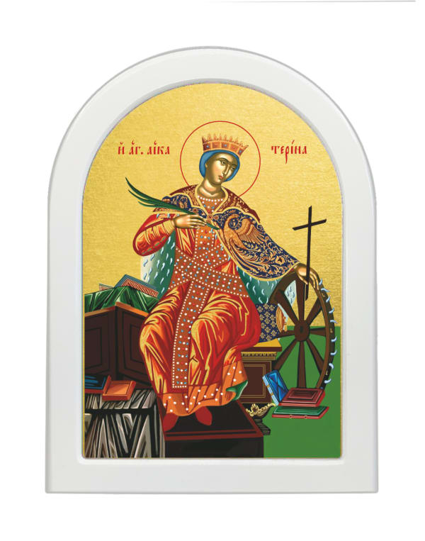 Икона Святая Мученица Екатерина, арочная доска