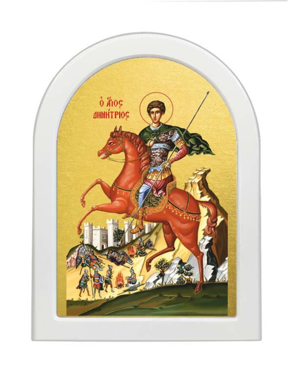 Икона Святой Димитрий Солунский, арочная доска