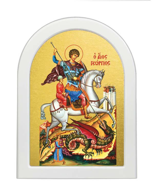 Икона Святой Георгий Победоносец, арочная доска