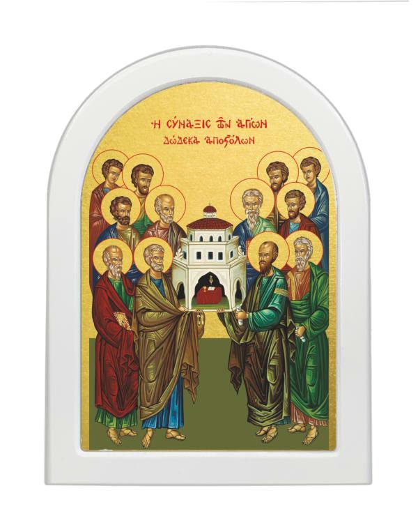 Икона Собор Двенадцати Апостолов, арочная доска