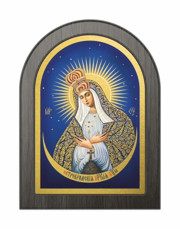 Икона Остробрамская Божья Матерь, арочная доска