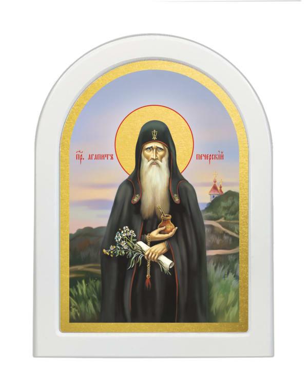 Икона Агапит Печерский, арочная доска