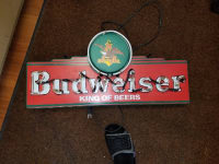 Vintage neon Budweiser sign , The sign is in good shape every part of it is in working condition looks great neon is still working and bright.