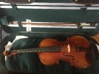"""Viola, condition: excellent make / manufacturer: Jay Haide model name / number: a l'Ancienne 16"""" Strad pattern Included is a Carvalho bow, a violin-viola double case, KUN shoulder rest, silk viola bag, and an extra set of used strings. It really sounds nice and smooth. I am a professional violinist and I used this instrument for some extra viola gigs. Originally bought from Ifshin Violins in California in 2015. ($3,200 for viola, $850 for bow)"""