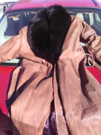 Leather jacket with fur collar, Leather coat with fur collar