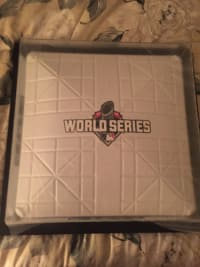 """Actual base (framed) from 2015 World Series - KC Royals, Actual """"Base"""" from 2015 World Series - KC Royals, framed."""