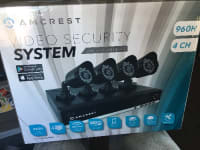 Video security system , Amcrest , AMDV960H4-4B, 2016, - 4 high resolution 800+ cameras for excellent video quality & clarity - pre installed 500GB hard drive ( expandable up to 4 TB ) for 6 days continuous recording at highest resolution - longer recording times up to 30+ days available with is Enid motion detection and lower resolution settings