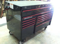 Like New Special Edition SnapOn Toolbox , Tool box is in excellent condition Roll Cab, Double Bank, 11 Drawers, Gun Metal w/Red Trim  Depth, inches (mm) 29 1/8 (739.7) Width, inches (mm) 54 1/4 (1,378) Height, inches (mm) 41 3/8 (1,050.9), Like new