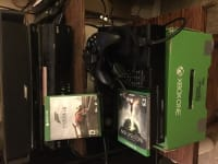 X box one, Electronics, Microsoft Xbox one, Has everything including box it came with, knect sensor, hdmi, one controller, power pack, headset, extra items include TV remote, and 2 games: dragon age 3 and forza