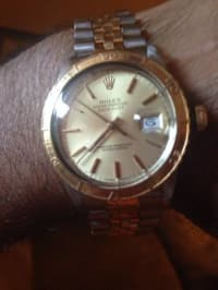 Rolex Oyster Perpetual Datejust, Rolex Oyster Perpetual Datejust watch. 18K yellow gold fluted bezel,champagne dial,stick hour markers, and stainless steel and 18K yellow gold Jubilee bracelet. , Like new