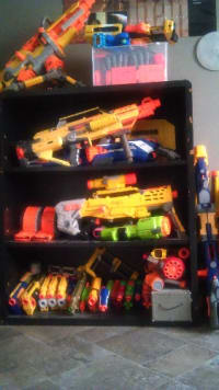 nerf guns, they are nerf guns and i want to sell all of them, there are 35 of them