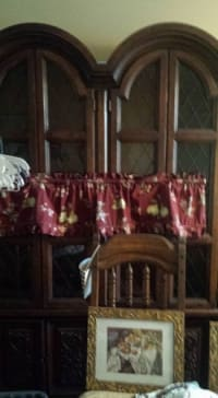 wooden china cabinet, wooden china cabinet 1 piece about 7 ft tall lights up