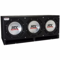 """Car subwoofers, 3- 10"""" MTX Audio subwoofers in a sledgehammer box."""