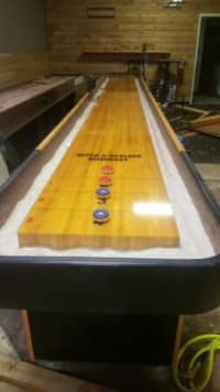 22 ft Shuffleboard Table , 22' shuffleboard table. 3 to choose from. The items are in great condition. Includes the table with manual scoreboard and blue and red weights.