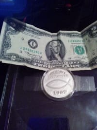 Coin, 1997 Large Silver Coin & $2 bill