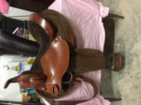 """Circle Y Barrel Saddle, Circle Y Barrel Saddle. Perfect condition. Hardly used. Has cordura skirt and fenders, all other parts are leather with a suede 14"""" seat."""