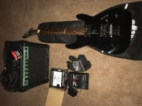 ESP LTD MX-100 WITH AMP CORDS AND DIGI TECH RP 55 MULTI EFFECTS , All black traditional style body ESP LTD MX-100  WITH STRAP CARRYING BAG AMP AND CABLES AND DIGITECH RP55 MULTI EFFECTS PROCESSOR WITH POWER SUPPLY AND CORD HOOK UPS!! Missing top to toggle switch is all like new besides that