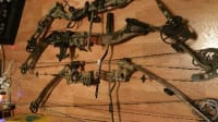 Compound bow, I have 3 compound bows one needs new string..one is a razor edge, phoenix proshop series mossy oak, last one is Martin archery