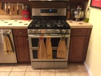 Samsung gas stove, Samsung gas stove with double oven. Stainless steel and black. 4 months old. Model number is NX58K785OSS/AA, serial number is 0D1X7DDH300605R.