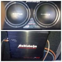 car system speakers, two 12 Audiobahn speakers for sale., Like new