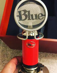 """Microphone, Blue Spark Condenser Microphone (Limited Edition: Red) Includes Original Wooden Case, Pop Filter and Shock Resistance Stand. Features  Transducer: Condenser Polar pattern: Cardioid Frequency response: 20Hz - 20kHz Sensitivity: 28mV/Pa Output impedance: 50 ohm Rated load impedance: Not less than 1 ohm Maximum SPL: 128dB S/N ratio: 84dB Noise level: 10dB Power requirement: +48V phantom power Weight: 1.25 lb. Dimensions: Length: 7-3/4"""" Diameter: 1-3/4"""""""