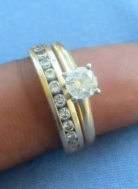 gold half carat wedding band round four prong round diamond, sol, weddings ring weight is half carat like new, Like new