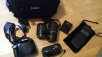 Canon t3 with extras, Canon T3 with extra battery,camera bag,2 lenses and neck strap., Like new