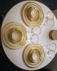 Tuxedo lenox china j-33 , They are in the bags they came in.  6 saucers. 6 cups. 9 Crystal goblets. 3 crystal sherbet. 5 small plates. 3 salad plates and 8 large plates.
