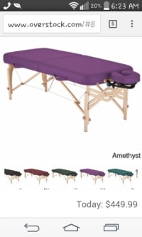 Earthlite massage table, Other, Like new condition portable earthlite massage table amethyst color headrest and matching cylinder pillow included.
