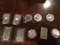 10 oz silver coins/bars, Precious Metal or Stones, Ten 1 oz bars and coins of silver