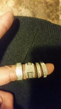 4 rings , Jewelry, unsure of weight or carats , silver,  real diamonds -