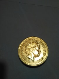 "gold coin, Other, It's an Elizabeth gold coin. Year 2005. It is written on the coin ""one pound""."