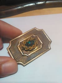 brooch, Other, Green rock in the center