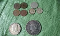 coins, Other, Indian head penny 1891, 1911 1904 - 1923 Silver Dollar - 1964 Kennedy - 1911 dime.
