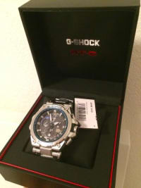 CASIO G-SHOCK MTG GPS MTG-G1000D-1A2JF Mens Japan import, Luxury Watch, CASIO G-SHOCK MTG GPS MTG-G1000D-1A2JF Mens Japan import, Triple G Resist Neobrite Sapphire Crystal Shock Resistant 200-meter water resistance Case / bezel material: Resin / Stainless steel Stainless Steel / Resin Composite Band One-touch 3-fold Clasp Solid Band Solar powered LED light (Super Illuminator) Afterglow GPS signal reception: Auto receive (time information, once/day); Manual receive (position information, time information) Time calibration signal reception: Auto receive up to six* times a day (remaining auto receives canceled as soon as one is successful) *5 times a day for the Chinese calibration signal The latest signal reception results Time Calibration Signals Station name: DCF77 (Mainflingen, Germany) Frequency: 77.5 kHz Station name: MSF (Anthorn, England) Frequency: 60.0 kHz Station name: WWVB (Fort Collins, United States) Frequency: 60.0 kHz Station name: JJY (Fukushima, Fukuoka/Saga, Japan) Frequency: 40.0 kHz (Fukushima) / 60.0 kHz (Fukuoka/Saga) Station name: BPC (Shangqiu City, Henan Province, China) Frequency: 68.5 kHz The auto hand home position correction Airplane mode World time 40 time zones (27 cities + coordinated universal time), daylight saving on/off 1-second stopwatch Measuring capacity: 23:59'59 Measuring mode: Elapsed time Countdown timer Measuring unit: 1 second Countdown range: 24 hours Countdown start time setting range: 1 minute to 24 hours (1-minute increments and 1-hour increments) Daily alarm Low battery alert Power Saving (hands stop to save power when the watch is left in the dark) Full auto-calendar (to year 2099) Date display Regular timekeeping Analog: 3 hands (hour, minute (hand moves every 10 seconds), second) 3 dials (24-hour, world time hour and minute, day) Accuracy: