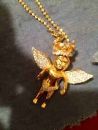 Gold plated necklace with diamond baby angel charm , 18k gold necklace Gently used, Gently used