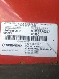 Lawn mower, See uploaded picture for model # and serial number.
