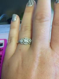 Samuels Diamond Ring, 14K White Gold and  Diamond Ring it is missing two small diamonds., Gently used