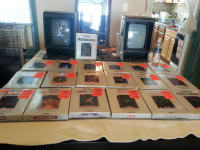 vectrex arcade system, 2 vectrex consoles, model #'s HP 3000, serial numbers 0142553, 0141628, color black, 35 games total all with their screens and booklets and 3 extra controllers